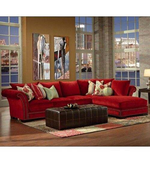 Classy Living Room with Red Sectional Sofa